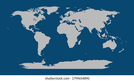 World map vector, isolated on blue background. Flat Earth, gray map template for web site pattern, anual report, inphographics. Globe similar worldmap icon. Travel worldwide, map silhouette backdrop.