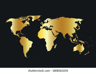 World map vector, isolated on black background. Flat  Gradient Earth, map template for website pattern, annual report, infographics. Travel worldwide, map silhouette backdrop.