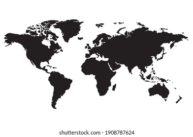 World map vector, isolated on white background. Flat Earth