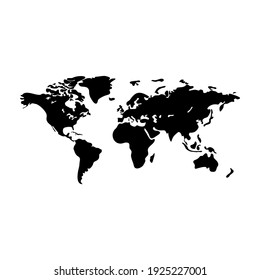World map vector modern. Earth map vector outline silhouette isolated on white background. Flat map template for website pattern, annual report, infographics. Travel worldwide, map silhouette backdrop