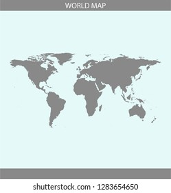 World map vector outline illustration cartography in gray and blue background