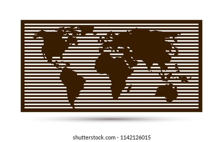 World map. Vector template for cutting. Panel for interior decoration. Drawn in one layer.