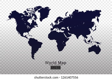World map vector template with dark blue and dark gray color gradient for education, web, banner, internet isolated on transparent background - Vector illustration eps 10