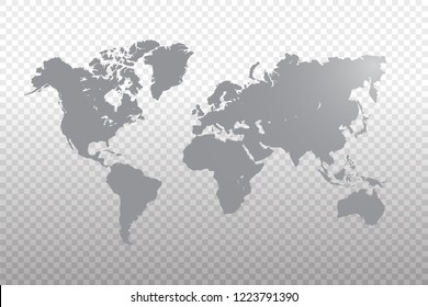 World map vector template with gray color gradient isolated on transparent background - Vector illustration eps 10