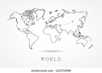 World Map Vector Template With Thin Black Outline Or Graphic Sketch Style Isolated On