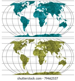World Map, Vector Textured Silhouettes for your design