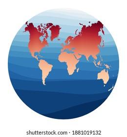 World Map Vector. Van der Grinten II projection. World in red orange gradient on deep blue ocean waves. Awesome vector illustration.
