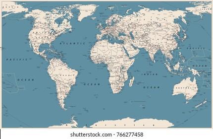 World Map Vector Vintage. High detailed vector illustration of World Map.