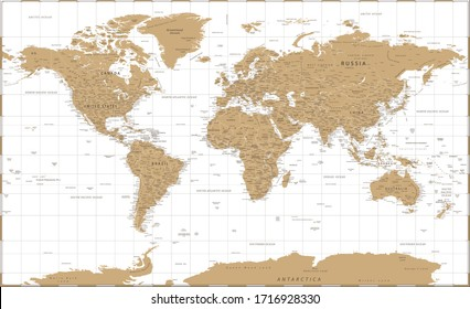 World Map Vintage Golden Political - Vector Detailed Illustration