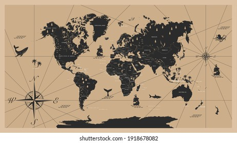 The world map in vintage style  with all countries boundaries and names