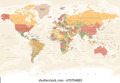 World Map in Vintage Style. High detailed worldmap illustration