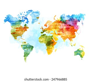 World Map Watercolor, Vector illustration.