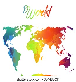 World Map Watercolor  Vector illustration rainbow and heart
