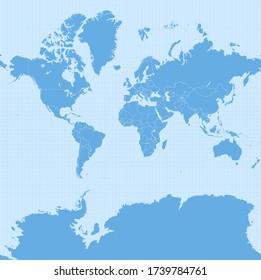 Carte du monde en projection Web Mercator (WGS 84 / Pseudo-Mercator, projection sphérique Mercator, EPSG:3857). Carte vectorielle détaillée de la Terre avec les frontières des pays et la grille à 5 degrés.