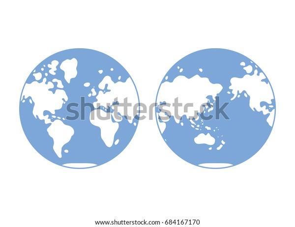 World Map Western Eastern Globe Hemisphere Stock ...