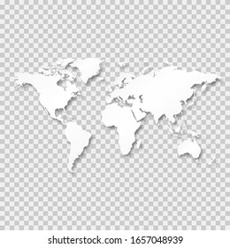 World Map White Color Isolated On Transparent Background. Realistic Shadow Backdrop. Template For Web Design App. Africa America USA Europe Australia Asia Map Vector. Vector Illustration EPS10