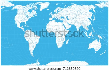Map Of The World No Borders.World Map White Color No Text Stock Vector Royalty Free 713850820