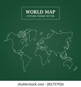 World Map White Outline Stroke on Green Background Vector Illustration