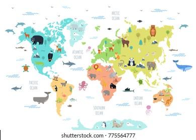 さまざまな大陸や海に生息する野生動物との世界地図。かわいい漫画の哺乳類、爬虫類、鳥類、惑星に住む魚。教育用ポスター、バナー用の平らなカラフルなベクターイラスト。