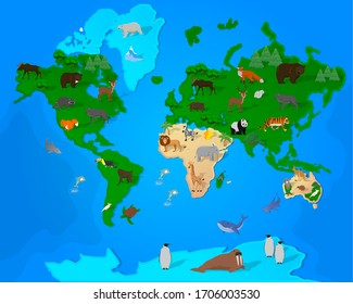 World map with wildlife animals and plants
