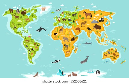 World map with wildlife animals vector illustration. Animals planet concept, world continents with flora and fauna. Giraffe, elephant, monkey, zebra, bear, turtle, whale, walrus, penguin, lynx, panda