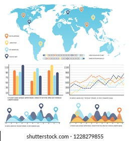 World map worldwide infographics visual data representation vector. Flowchart with numeric information, location pointers, table with growing chart