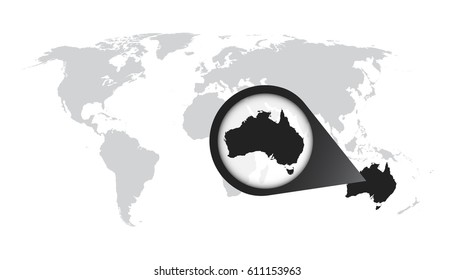 World map with zoom on Australia. Map in loupe. Vector illustration in flat style
