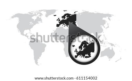 world map zoom on europe map のベクター画像素材 ロイヤリティフリー