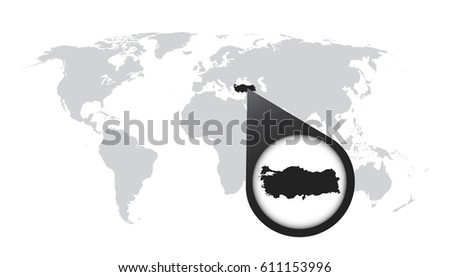 World Map Zoom On Turkey Map Stock Vector (Royalty Free) 611153996 ...
