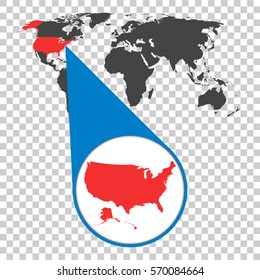 World map zoom on usa america stock vector 458635657 shutterstock world map with zoom on usa america map in loupe vector illustration in flat gumiabroncs Gallery