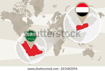 Map Zoom.World Map Zoom On Yemen Saudi Stock Vector Royalty Free 265682096