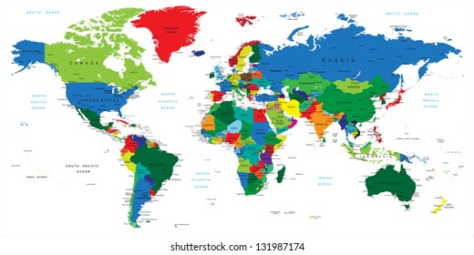 Color world map names countries political vector de stock631632209 world map countries gumiabroncs Gallery