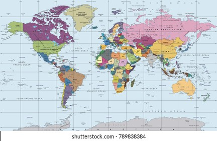 World map-countries. Vector illustration.