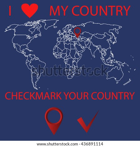 World Mapi Love My Country Location Stock Vector (Royalty Free ...