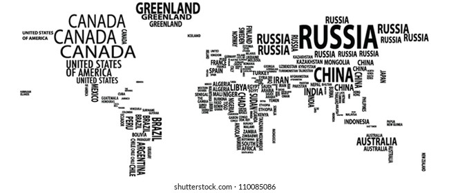 World map/nations/countries/continents vector