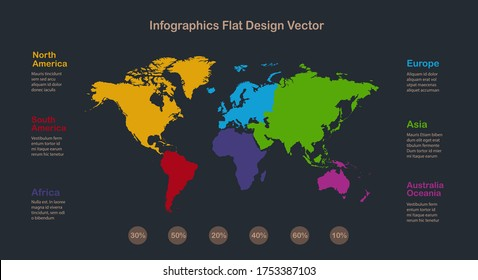 World maps and individual continents vector