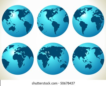 World maps. Vector illustration different part of globe.