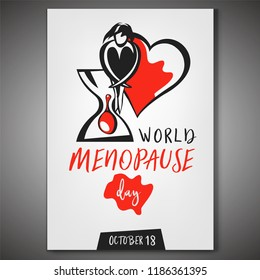 World menopause day poster in vertical format. Editable vector illustration in red, black and white colors isolated on grey background. Medical, healthcare and feminine concept.