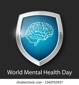 World Mental Health Day. Absolute protection guard shield brain concept. Safety vector badge abstract protection icon Privacy banner brain shield. Defense presentation sticker brain shield safeguard