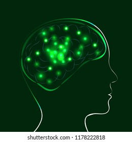 World Mental Health Day. Concept of medical holiday. Silhouette of the head of man and brain. Lights showing the work of the brain. Dark green background