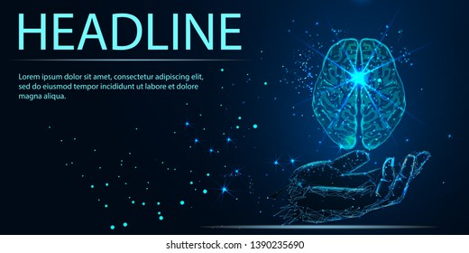 World Mental Health Day. Mood support drug therapy medical care. Sedative balance depression correction. Psychology disorder brain polygon medicine science banner vector illustration. Headline