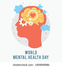 World Mental Health Day. Silhouette of a man's head with brain, gear, love