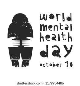 World Mental Health Day. Vector illustration with depressed person