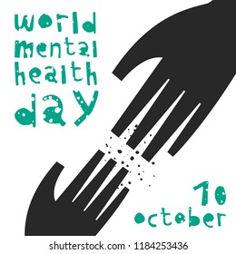 World Mental Health Day. Vector illustration with helping hand