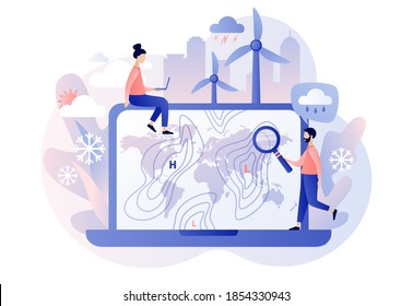 World Meteorological day. Meteorology science. Tiny people meteorologist studying and researching weather and climate condition online on laptop. Modern flat cartoon style. Vector illustration