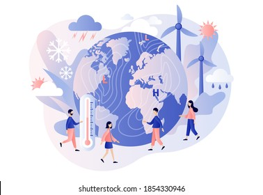 World Meteorological day. Tiny people meteorologists studying and researching weather and climate condition. Meteorology science. Modern flat cartoon style. Vector illustration on white background