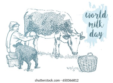 World milk day lettering. Hand drawing of a seated on the wooden stool milkmaid who milks the cow. Black sheep and basket. Milk farm vintage vector illustration isolated on white background