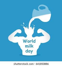 World milk day. Milk splash to be strong man. Vector illustration.