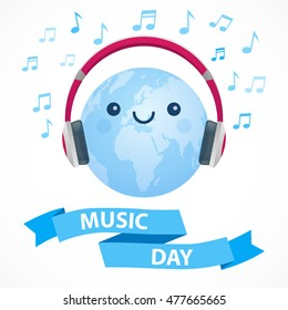 World Music Day. Blue and white vector illustration. Cute happy globe with big pink headphones, musical signs and ribbon.