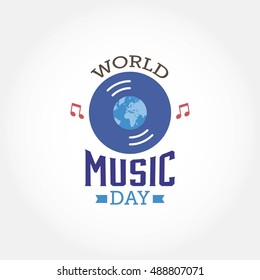 World music day design template. Suitable for greeting card, poster and banner. Vector illustration